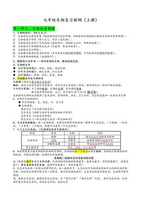 人教版七年级上册生物复习提纲.doc.doc
