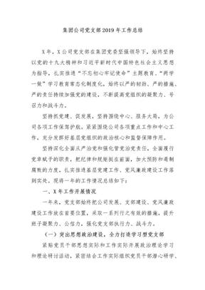集团公司党支部2019年工作总结.docx