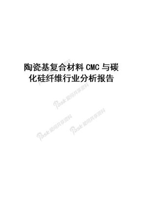 2019-2020年陶瓷基复合材料CMC与碳化硅纤维行业分析报告.doc