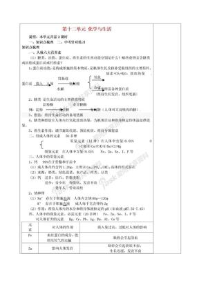 九年级化学下册 第十二单元 化学与生活教案 (新版)新人教版 (2).doc