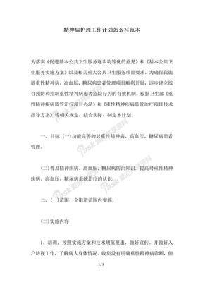 2018年精神病护理工作计划怎么写范本.docx