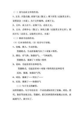 高中语文答题公式及技巧(完整清晰版).doc