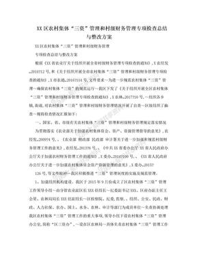"XX区农村集体""三资""管理和村级财务管理专项检查总结与整改方案.doc"