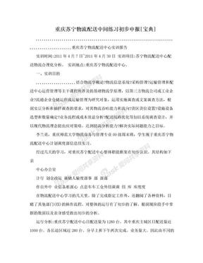 重庆苏宁物流配送中间练习初步申报[宝典].doc