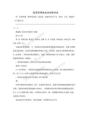 质量管理体系内审检查表.doc