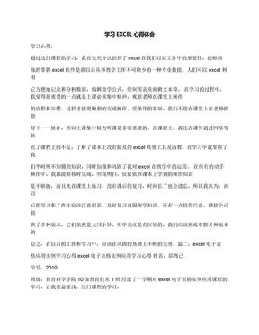 学习EXCEL心得体会.docx