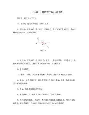 人教版七年级下册数学课本知识点归纳.doc