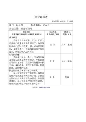 财务岗位职责表.doc