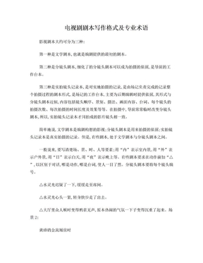 电视剧剧本写作格式及专业术语.doc