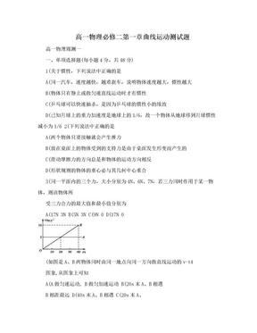 高一物理必修二第一章曲线运动测试题.doc
