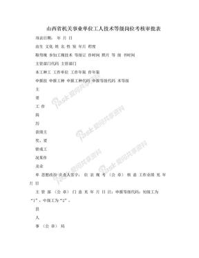 山西省机关事业单位工人技术等级岗位考核审批表.doc