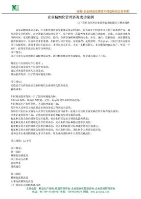 企业精细化管理咨询成功案例.doc