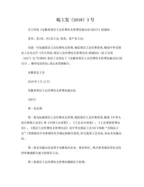 皖工发〔2018〕3号 关于印发《安徽省基层工会经费收支管理实施办法(试行)》的通知.doc