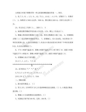 人教版六年级下册数学第一单元质量检测试题及答案.doc
