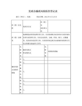 党政办公室廉政风险防控登记表.doc