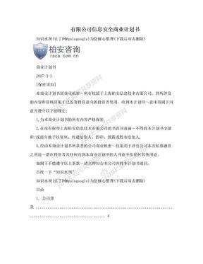 有限公司信息安全商业计划书.doc
