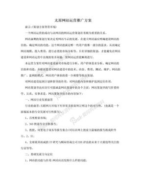 太原网站运营推广方案.doc