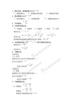 高中物理学业水平测试公式大全.doc