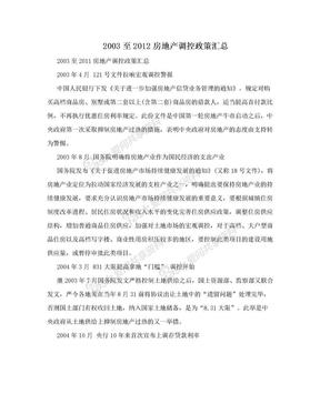 2003至2012房地产调控政策汇总.doc