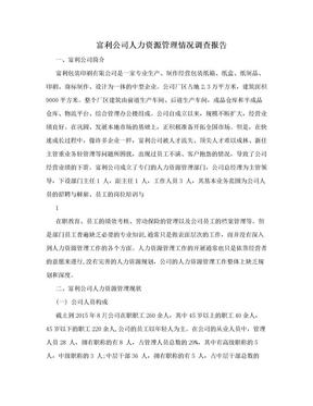 富利公司人力资源管理情况调查报告.doc