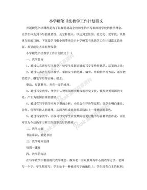 小学硬笔书法教学工作计划范文.doc