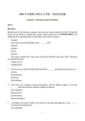 2001年考研英语(一)试题.doc