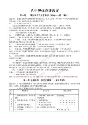 八年级体育课教案(全共36课时).doc