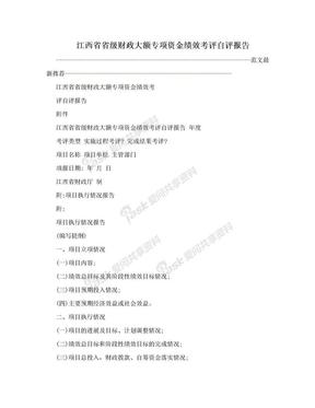 江西省省级财政大额专项资金绩效考评自评报告.doc