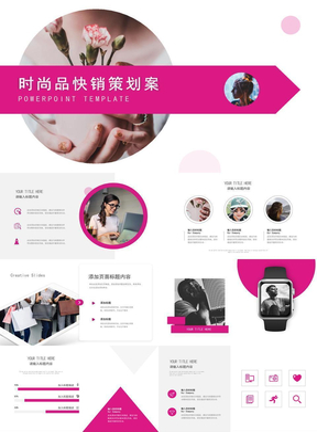 粉色图文时尚品快销策划案PPT模板