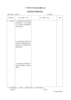 ISO质量检查表.doc