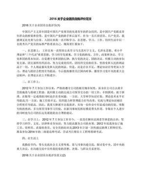 2016关于企业团员自我评价范文.docx