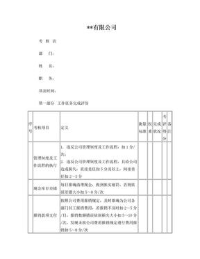出纳岗位绩效考核表.doc