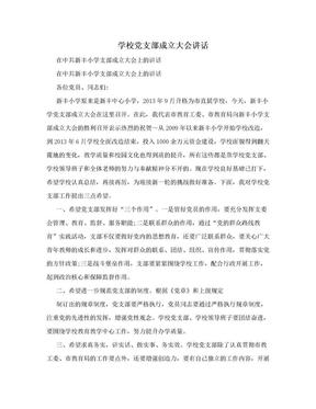 学校党支部成立大会讲话.doc