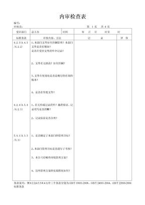 内审检查表总工办.doc