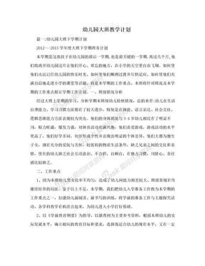 幼儿园大班教学计划.doc