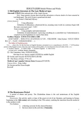 英国文学简史期末考试复习要点 刘炳善版(英语专业大三必备).doc