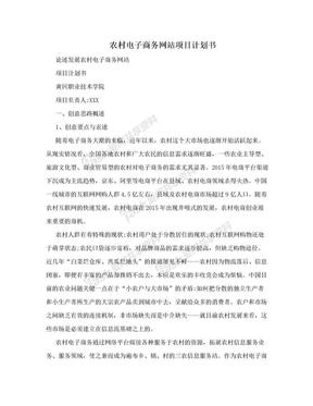 农村电子商务网站项目计划书.doc