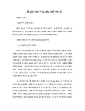 (倪明、高飞):浅析国有资产授权经营法律制度(经济视角).doc