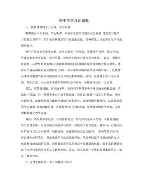 初中生学习计划表.doc