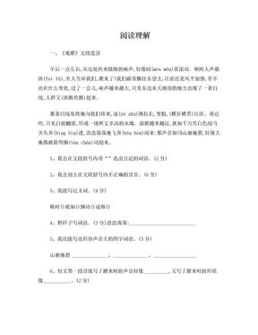 五年级语文阅读理解(附有答案).doc