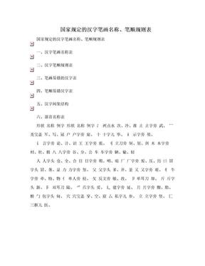 国家规定的汉字笔画名称、笔顺规则表.doc