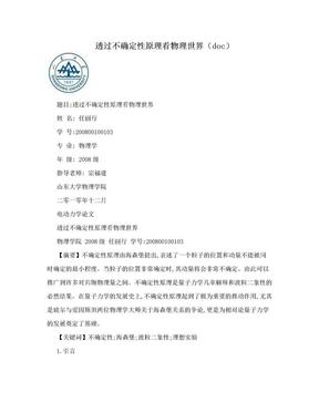 透过不确定性原理看物理世界(doc).doc