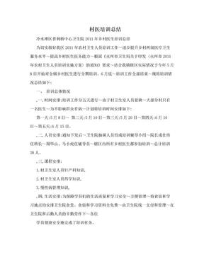村医培训总结.doc