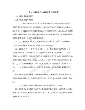 人才市场建设的调研报告(范本).doc