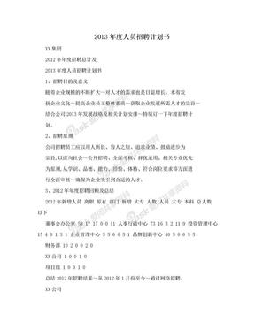 2013年度人员招聘计划书.doc