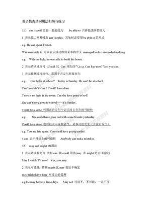 情态动词英语情态动词用法归纳与练习.doc