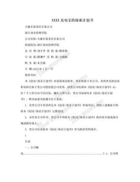 XXXX充电宝的商业计划书.doc