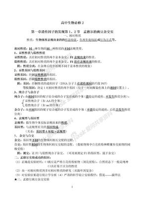 人教版高中生物必修二知识点总结(内容精炼).doc