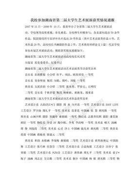我校参加湖南省第二届大学生艺术展演获奖情况通报.doc