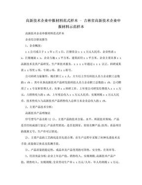 高新技术企业申报材料范式样本 - 吉林省高新技术企业申报材料示范样本.doc